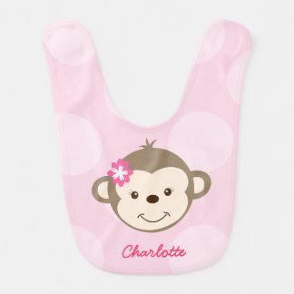 Cute Mod Monkey Baby Bib (Pink)