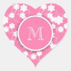 Cute Mod Pink Flowers Pattern, Your Initial Heart Sticker