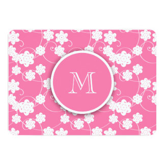 """Cute Mod Pink Flowers Pattern, Your Initial 5"""" X 7"""" Invitation Card"""