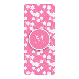 Cute Mod Pink Flowers Pattern, Your Initial 4x9.25 Paper Invitation Card