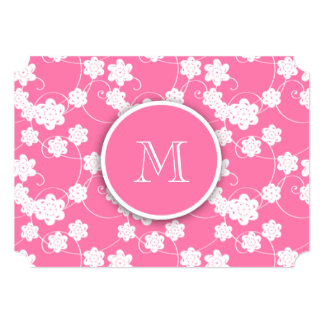 Cute Mod Pink Flowers Pattern, Your Initial Announcements