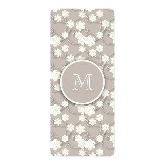 "Cute Mod Tan Flowers Pattern, Your Initial 4"" X 9.25"" Invitation Card"