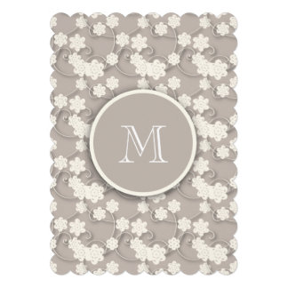 Cute Mod Tan Flowers Pattern, Your Initial Invites