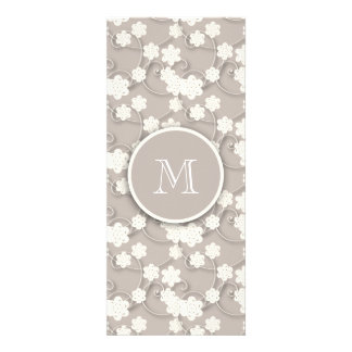 Cute Mod Tan Flowers Pattern Your Initial Personalized Invites