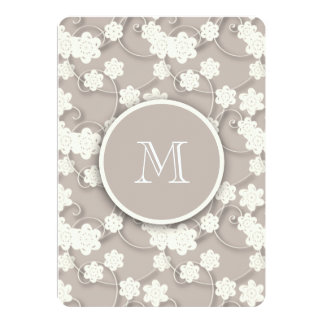 Cute Mod Tan Flowers Pattern, Your Initial 5x7 Paper Invitation Card