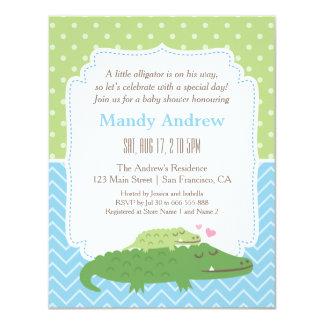 Cute Modern Alligator Baby Shower Party Card