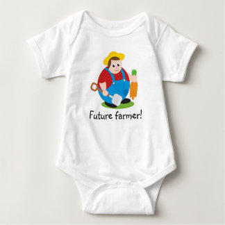 Cute modern cartoon of a proud farmer, baby bodysuit