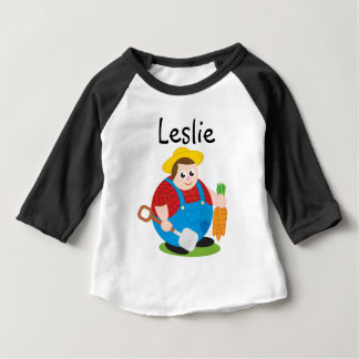 Cute modern cartoon of a proud farmer, baby T-Shirt