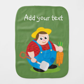 Cute modern cartoon of a proud farmer, burp cloths