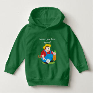 Cute modern cartoon of a proud farmer, hoodie