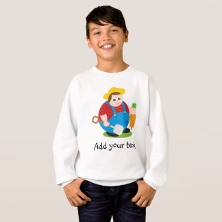 Cute modern cartoon of a proud farmer, sweatshirt
