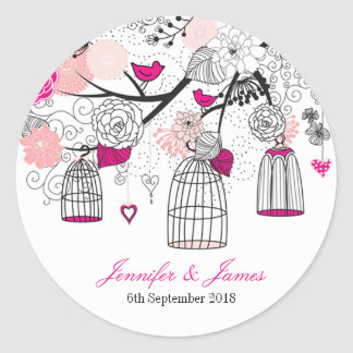 Cute modern DIY birdcage wedding favour favours Classic Round Sticker