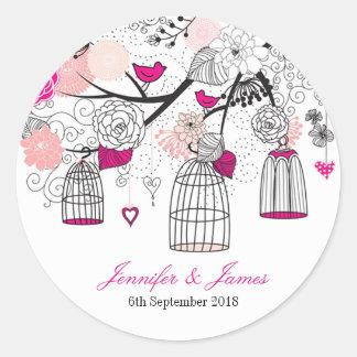 Cute modern DIY birdcage wedding favour favours Round Sticker
