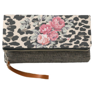 Cute  Modern Flowers On Leopard Print Clutch