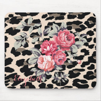 Cute  Modern Flowers On Leopard Print-Personalized Mouse Pad
