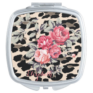 Cute  Modern Flowers On Leopard Print-Personalized Travel Mirrors
