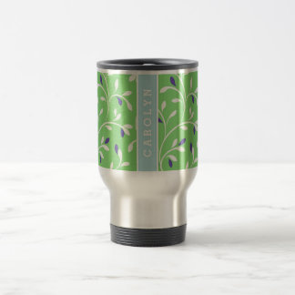 Cute modern green curly leaves pattern monogram travel mug