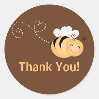 Cute Modern Honey Bee Baby Shower Invitation Classic Round Sticker