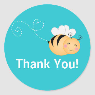 Cute Modern Honey Bee Baby Shower Invitation Round Sticker
