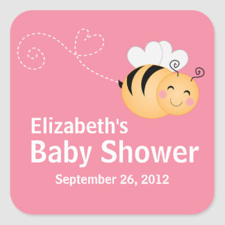 Cute Modern Honey Bee Baby Shower Invitation Square Sticker