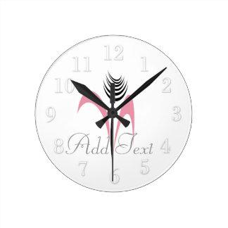 Cute Modern Ink Art Flower White Wall  Clock