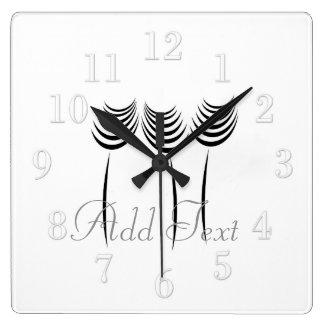Cute Modern Ink Art Flowers White Wall  Clock