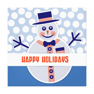 Cute Modern Merry Christmas Snowman and Polka Dots Canvas Print