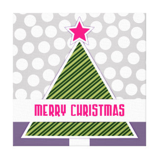Cute Modern Merry Christmas Tree and Polka Dots Canvas Print