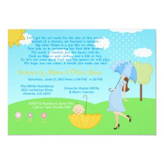 "Cute Modern Mom and Baby Boy Baby Sprinkle 5"" X 7"" Invitation Card"