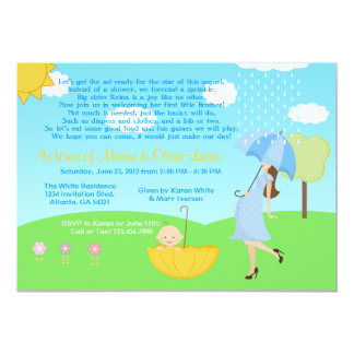 Cute Modern Mom and Baby Boy Baby Sprinkle Card
