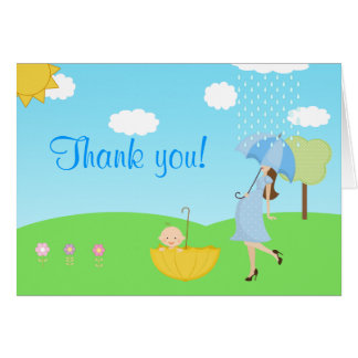 Cute Modern Mom and Baby Boy Thank You Card
