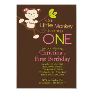 "Cute Modern Monkey 1st Birthday Party Invitations 5"" X 7"" Invitation Card"