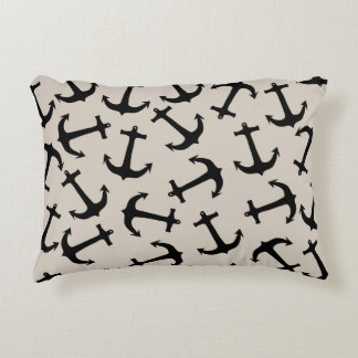 Cute Modern Navy Blue Nautical Anchors on Tan Accent Pillow