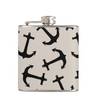 Cute Modern Navy Blue Nautical Anchors on Tan Hip Flask