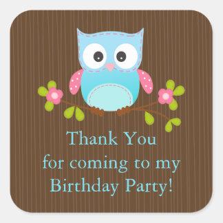 Cute Modern Owl Birthday Party Square Sticker