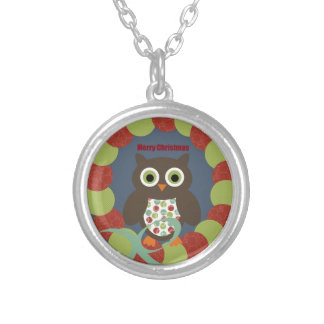 Cute Modern Owl Wreath Merry Christmas Gifts Silver Plated Necklace