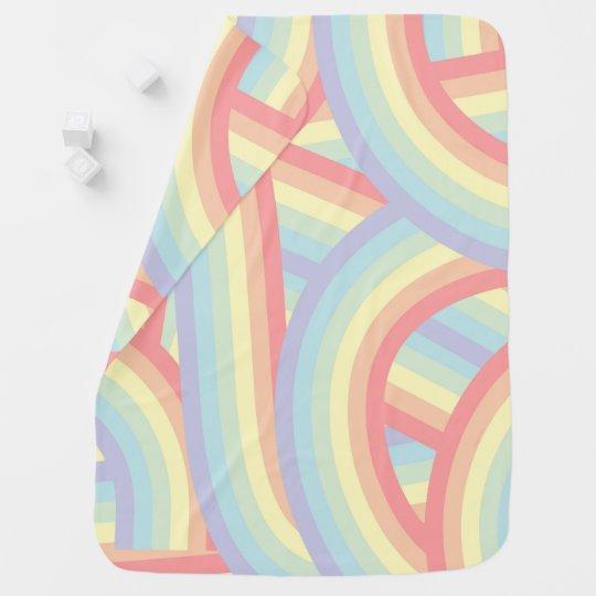 Cute Modern Pastel Rainbow Stripes Baby Baby Blanket