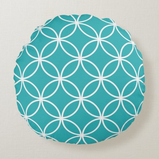 Cute Modern Pattern Overlapping Circles Aqua White Round Pillow