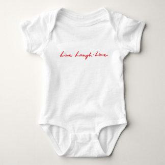 Cute Modern Red Live Laugh Love Baby Bodysuit