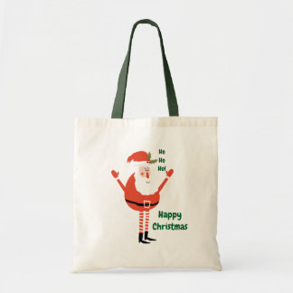 Cute Modern Santa Wishes You a Happy Christmas Tote Bag