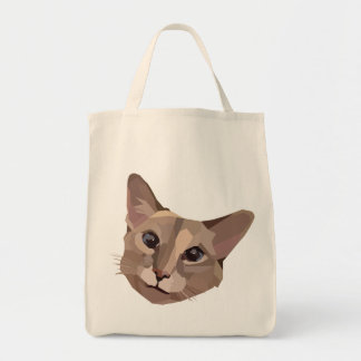 CUTE MODERN SIAMESE / BALINESE CAT TOTE BAG