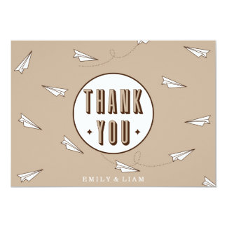 """Cute Modern Thank You Card with paper plane 5"""" X 7"""" Invitation Card"""