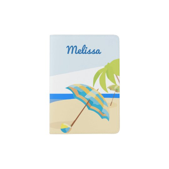 Cute Modern Tropical Beach Vacation Custom Name Passport Holder