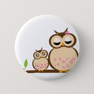 Cute mom and baby owl 2 inch round button
