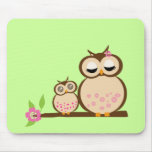 Cute mom and baby owl mousepads