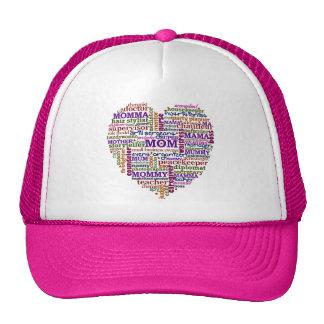 Cute Mom Mother's Day Word Art Heart Trucker Hat