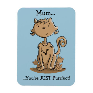 Cute Mommy Cat and kittens Rectangular Photo Magnet