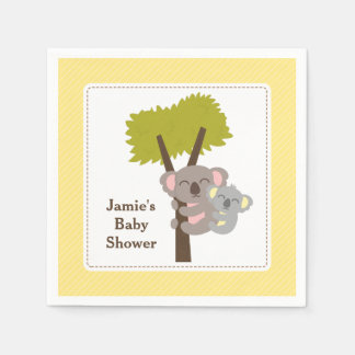 Cute Mommy Koala Bear Baby Shower Party Paper Napkin