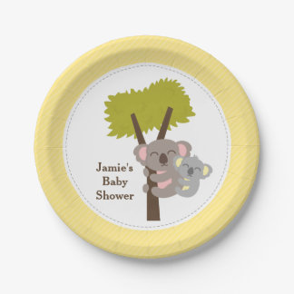 Cute Mommy Koala Bear Baby Shower Party Paper Plate