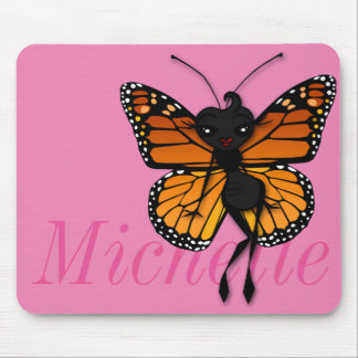 CUTE MONARCH BUTTERFLY LADY HORIZONTAL MOUSE PAD